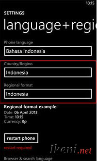 Setting Region Windows Phone