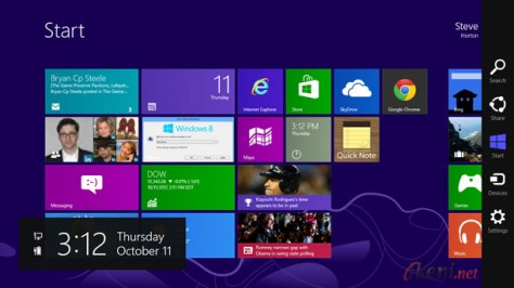 Start Screen Charm Bar Windows 8