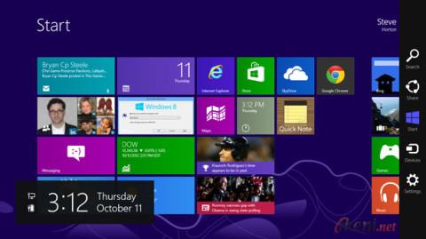 Start Screen Charm Bar Windows 8