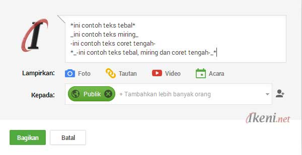 Google Plus Teks Bold Italic Strikethrough [gbr-1]