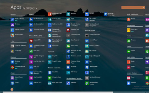 Windows 8.1 all apps by category
