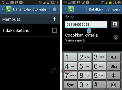 Blokir Panggilan di Android 4