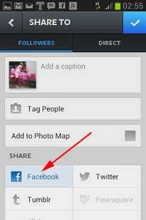 Instagram Share Foto ke Facebook