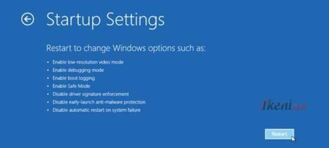 Windows 8.1 Startup Settings Restart