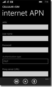 Sim Setting APN Windows Phone