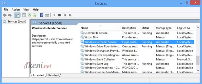 Windows Defender services