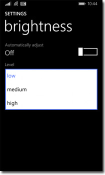 Windows Phone 8.1 Brightness