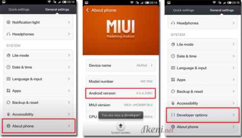 Enable Developer Options Xiaomi Redmi 1S