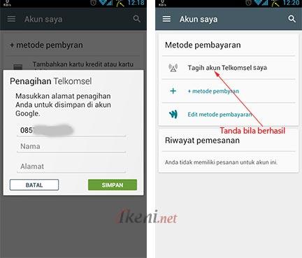 Penagihan Telkomsel di Play Store