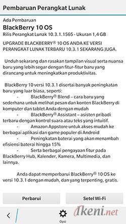 Update BlackBerry OS 10.3.1 Lewat OTA