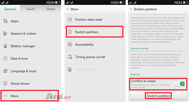 Switch Partitions atau Ganti Partisi OPPO ColorOS