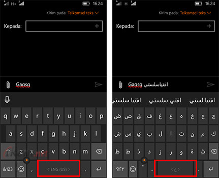 Input Bahasa Arab di Keyboard Windows 10 Mobile