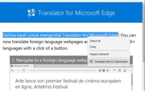 Translate Bahasa di Browser Edge